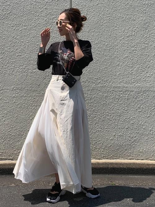 [Auntie Rosa] 【LA BELLE ETUDE】【Belle vintage】シフォン切替ツイルAラインスカート