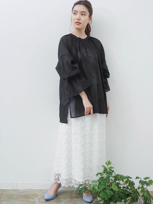 [HERENCIA] ケミカルレースロングスカート