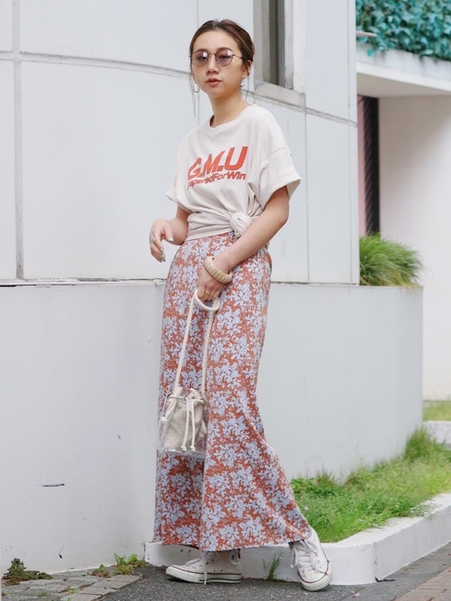 [Ungrid] フラワープリントフィットマキシスカート