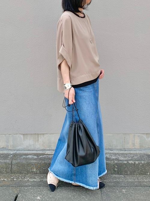 [coca] 裾スリットウォッシュ加工デニムロングスカート