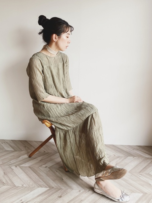 [YARD PLUS/AUNT MARIE'S] AUNT MARIE'S シフォン楊柳ロングワンピース