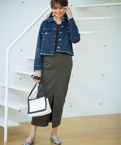 [Ranan] チノライクロングタイトスカート