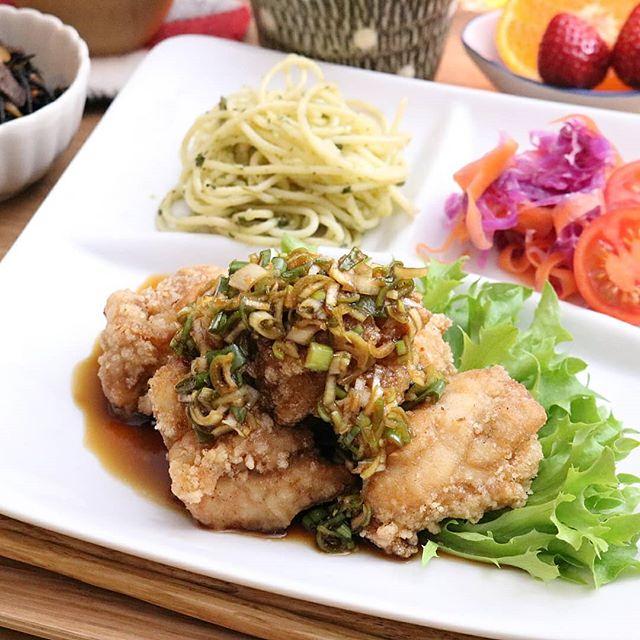 スタミナレシピ!鶏の竜田揚げネギソース