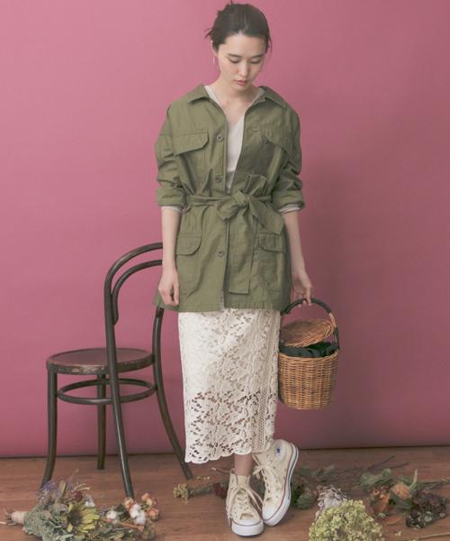[URBAN RESEARCH] カラーレースロングタイトスカート