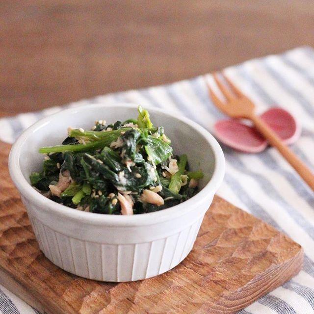 ほうれん草とツナの簡単めんつゆサラダ