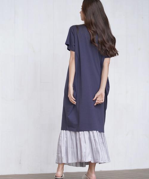 Tシャツワンピ×ギャザースカート