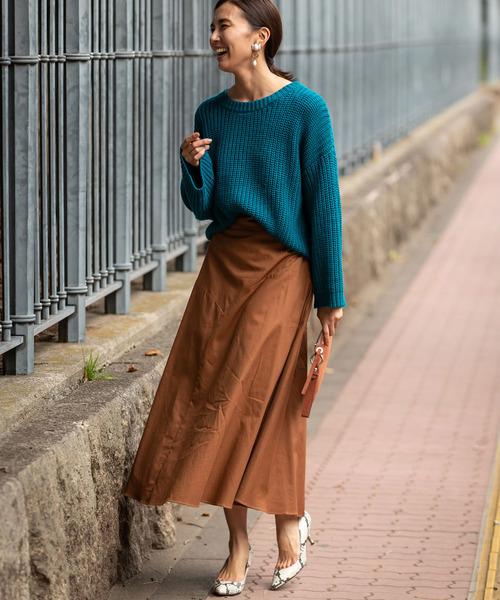 ファッションニット×切り替えロングスカート