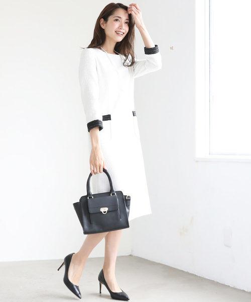 白×黒のバイカラーツイードワンピーススーツ