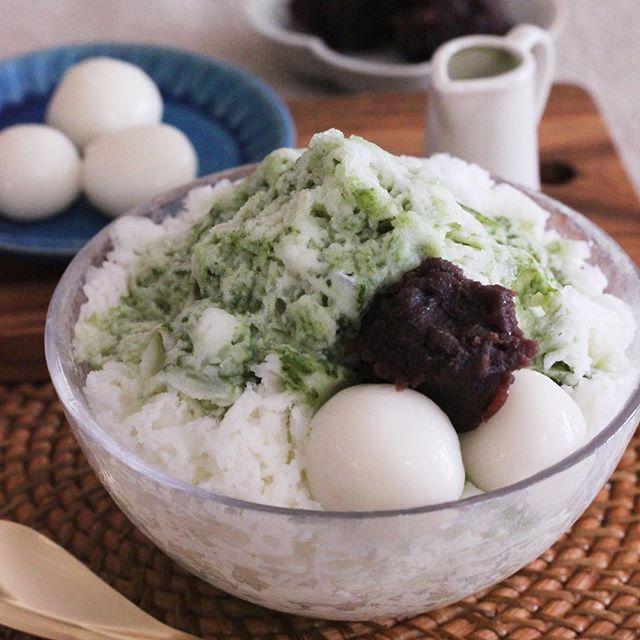 人気のレシピ!青汁入り抹茶ぜんざい風かき氷