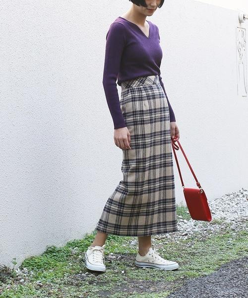 [FREAK'S STORE] ウォッシャブルチェックタイトスリットスカート