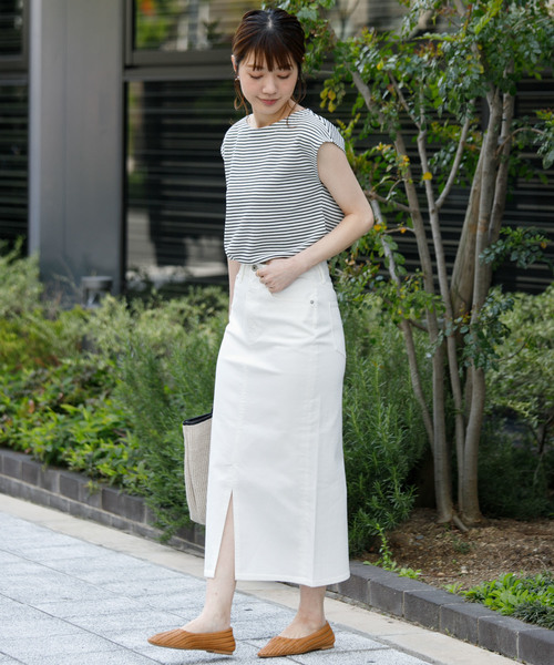 ボーダーT×ロングタイトスカート