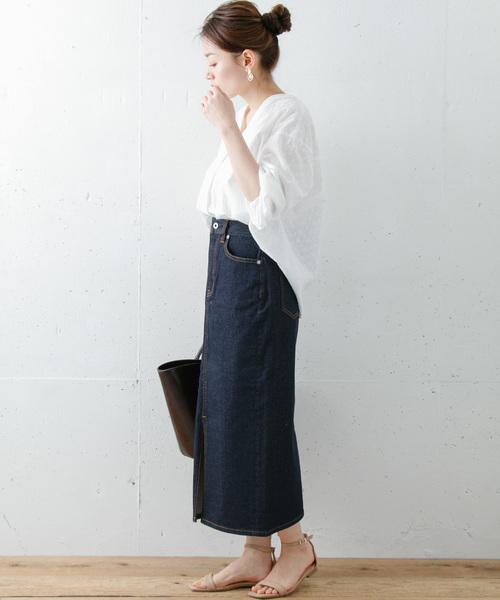 きちんと見えするタイトデニムスカート