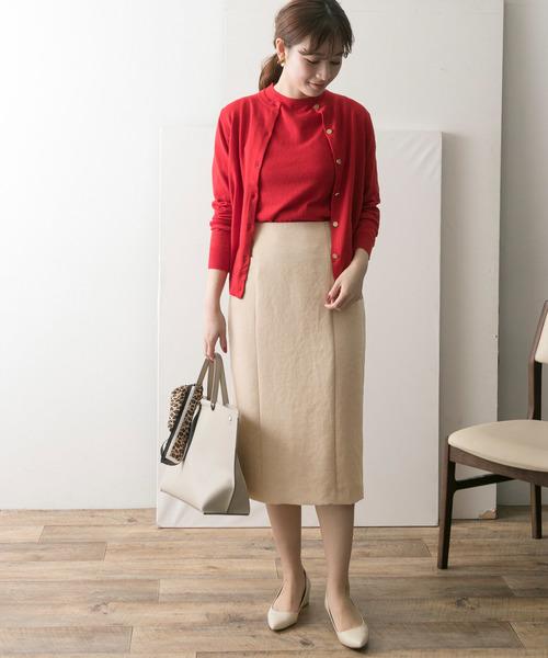 アンサンブルニット×Iラインスカート