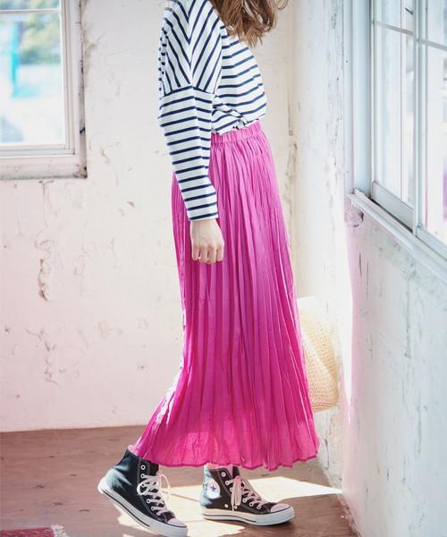 [ROPE' PICNIC] フレンチリネン混プリーツスカート