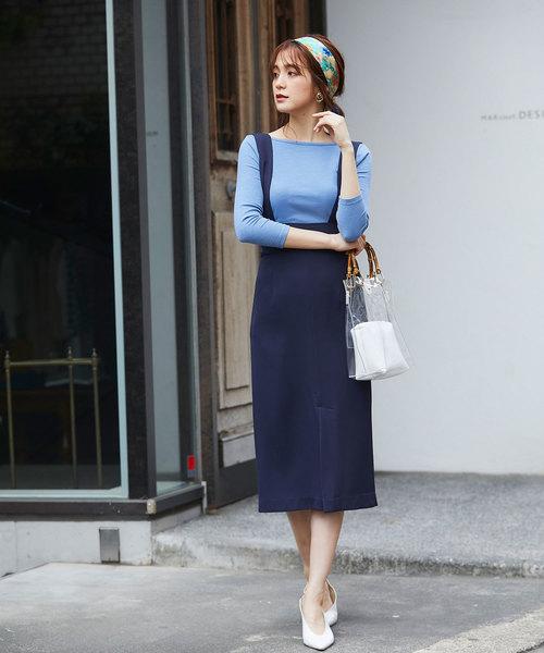 青リブカットソー×ネイビータイトスカート