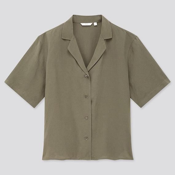 リネンブレンドオープンカラーシャツ