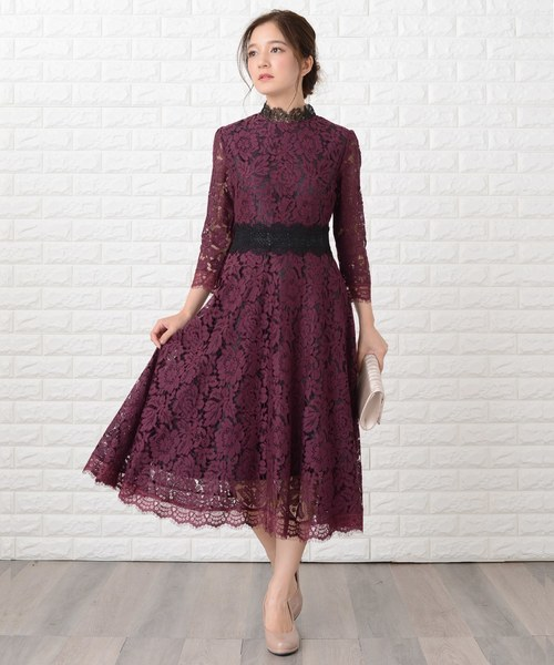 [Lace Ladies] 花柄総レースミモレ丈フレアワンピース・ドレス