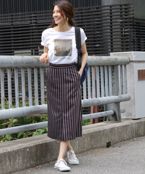 [BABYLONE] RLストライプセミタイトスカート