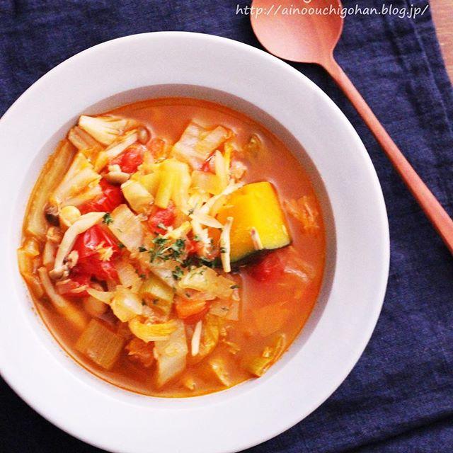 簡単かぼちゃ中華レシピ!トマト風スープ