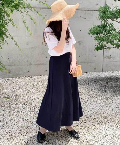 [kobelettuce] [ロング丈・マキシ丈]カットソーマキシフレアスカート