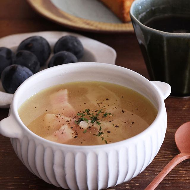 ベーコンとれんこんのポカポカとろみスープ