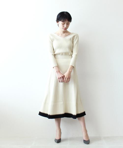 [DRESSLAVE] rayon nylon color block skirt(配色カラーニットフレアスカート)