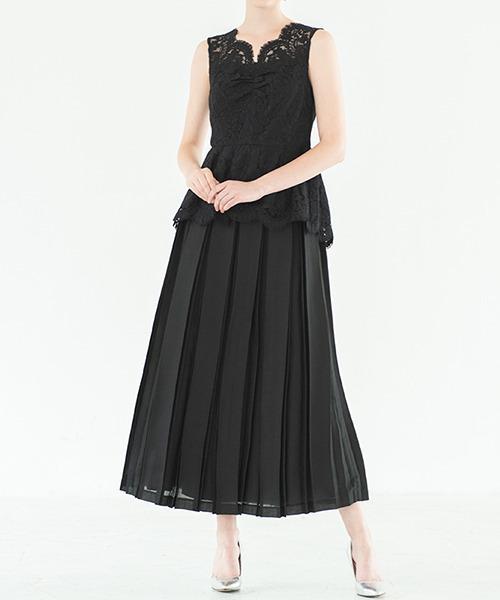 [GIRL] 総レースぺプラムブラウス&プリーツスカートのセットアップウェディングドレス - 結婚式・二次会・成人式・同窓会・謝恩会・お呼ばれ対応フォーマルパーティードレス