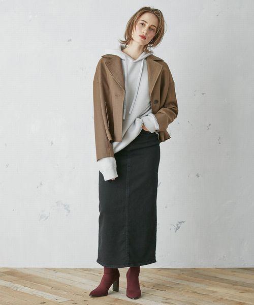 ショートジャケット×デニムロングスカート