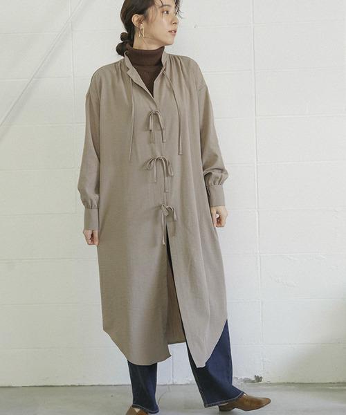 [select MOCA] リボンデザインスタンドカラーガウン/センターリボンバックタックデザインミモレ丈長袖羽織りシャツワンピ