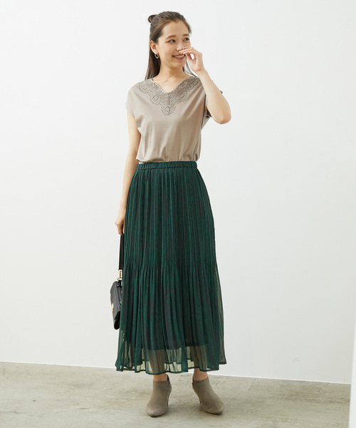 [ROPE' PICNIC] リーフプリントプリーツスカート