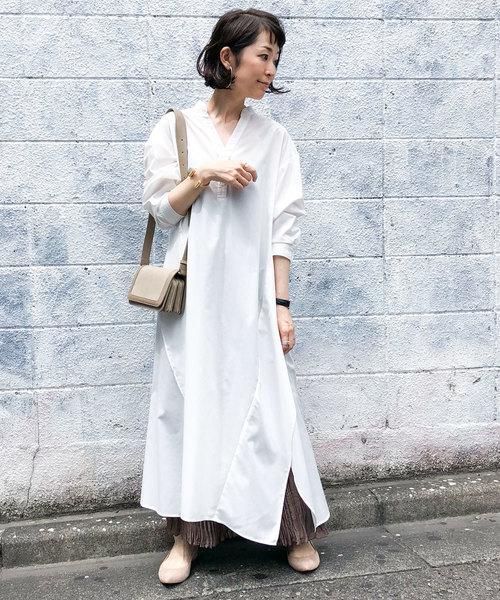 白シャツワンピース×グレースカート