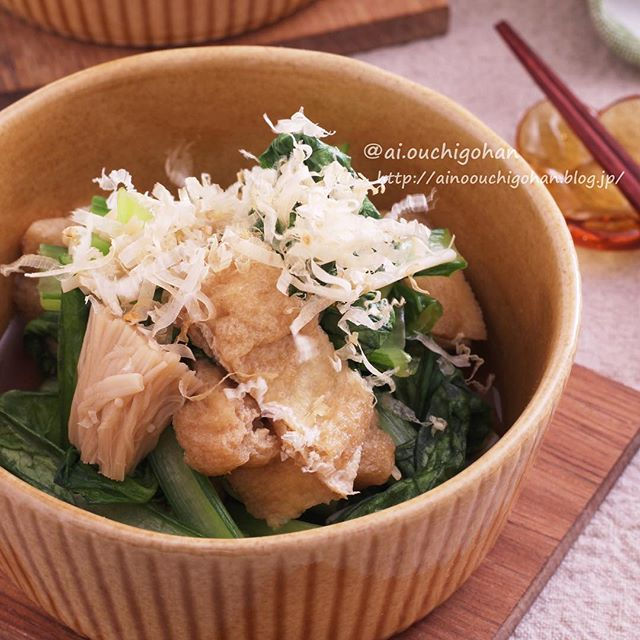 お弁当に人気のレシピ!小松菜と油揚げの煮浸し