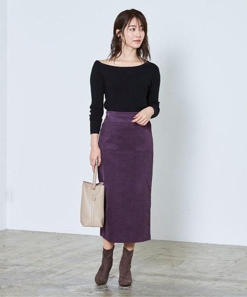 黒ニットトップス×紫スカートコーデ