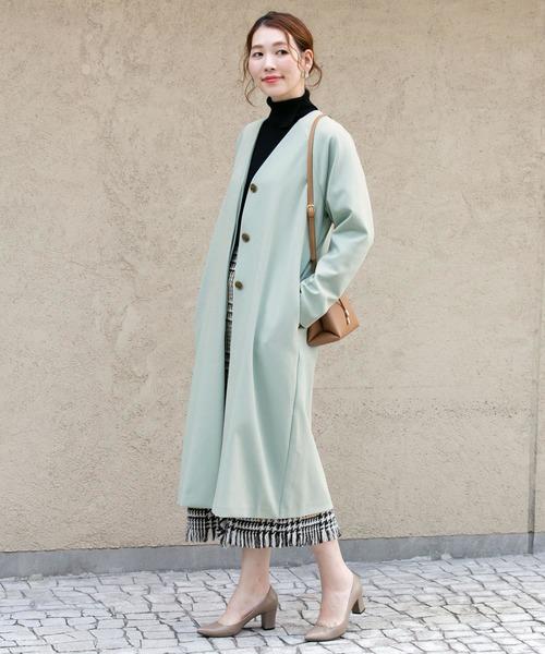 《冬》ノーカラーコート×フリンジスカート