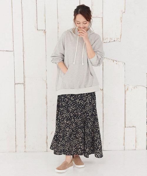 [kobelettuce] レオパード柄裾フレアロングスカート