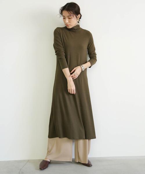 [select MOCA] リブタートルワンピース/コットンロングスリーブミモレ丈ワンピ
