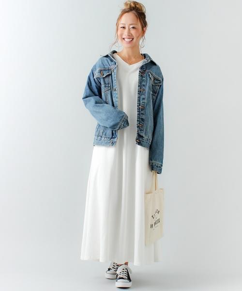 [JUNOAH] 【コットン100%】Aライン長袖スウェットマキシ丈ワンピース