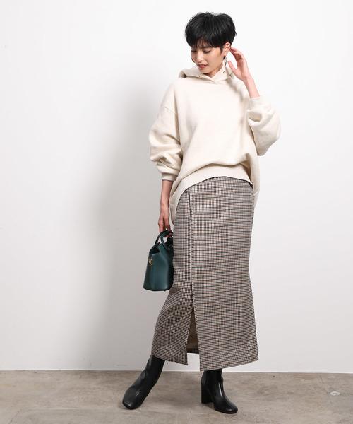 ざっくりパーカー×マキシタイトスカート