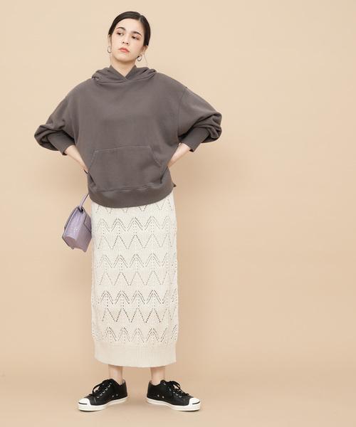 [ADAM ET ROPE'] 透かし柄編みニットスカート