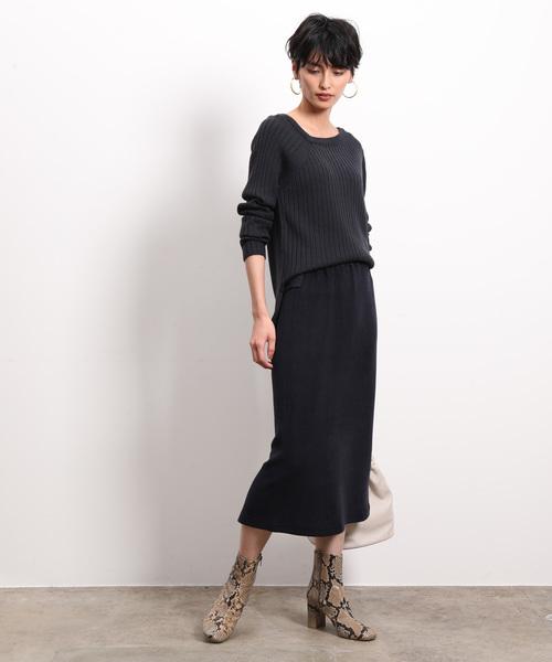 レディースリブニット×ミモレタイトスカート