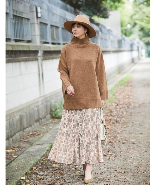 [tocco closet] レトロ柄レースマキシマーメイドスカート