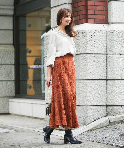 スキッパーシャツ×マキシマーメイドスカート