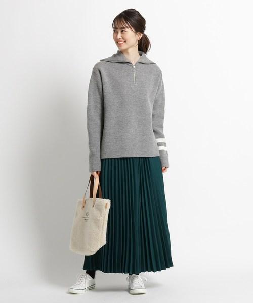 [WORLD ONLINE STORE SELECT] 【Sサイズあり、洗える】微起毛ヘリンボンプリーツスカート