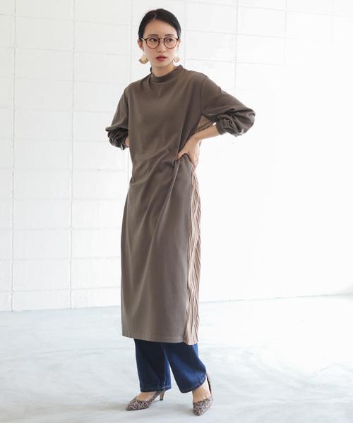 [Bou Jeloud] ◆着やすいカット素材◆サイドプリーツポンチワンピース