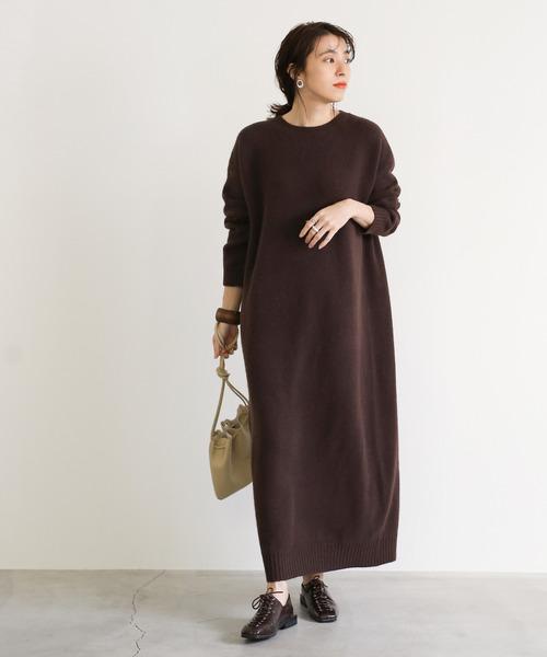 [select MOCA] Uネックウールニットロングワンピース/リブ袖&裾シンプルマキシニットワンピース