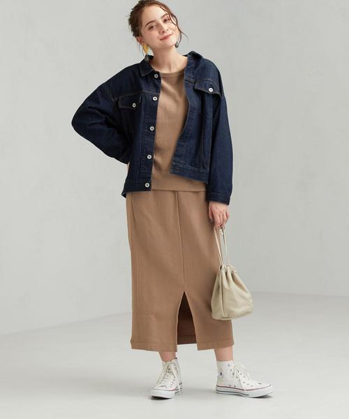 茶色スウェットスカート×Gジャンコーデ
