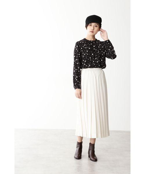 [HUMAN WOMAN] ◆ポリエステルジョーゼットフラワープリントスカート