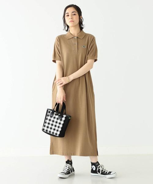[BEAMS WOMEN] LACOSTE × BEAMS BOY / 別注 ポロ ロング ワンピース