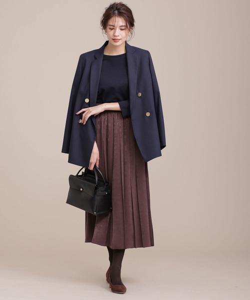 ダブルジャケット×ベロアサテンスカート