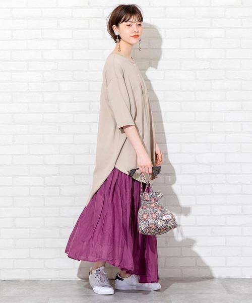 [coen] 【WEB限定カラー】【7色から選べる】アシンメトリーカラースカート(ロングスカート/マキシスカート)#